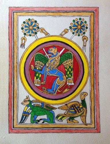 Enluminure du livre de Kells réalisée par un stagiaire