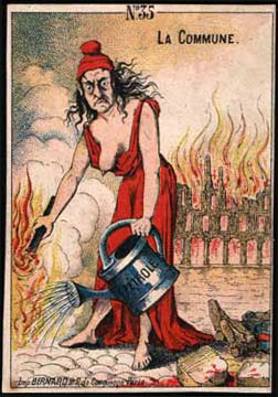 """Caricature de """"pétroleuse"""", d'après une carte postale versaillaise de 1871"""