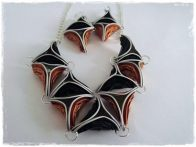 Collar y pendientes hechos a mano con cápsulas de café, artesanía, materiales reciclados
