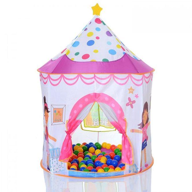 Tienda con forma de castillo de princesas con 100 bolas