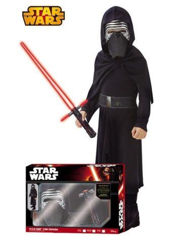 Disfraz de Kylo Ren con espada de Star Wars VII para niño