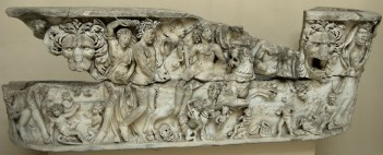 Lenos-sarcophagus with Dionysus on a panther (the front relief). White marble. Ca. 230—260 CE. Inv. No. 1140. Ostia, Archaeological Museum.