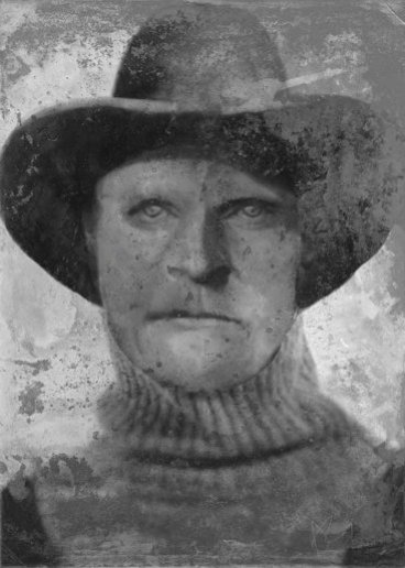Joseph Henry Loveless was a notorious outlaw and vicious murderer, according to newspaper records from the era. The composite image was created using images of his closest relatives and written descriptions.