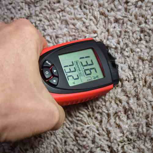measuring carpet moisture with ennologic moisture meter eh710t