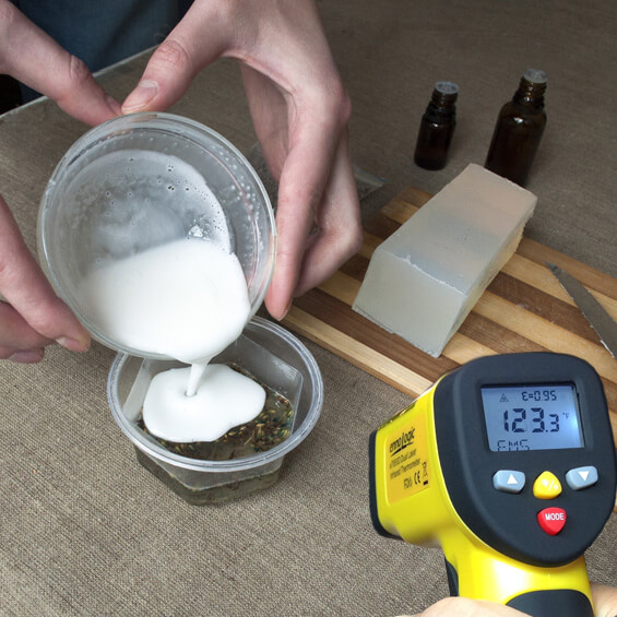 Use an infrared thermometer for improved results when making soaps.