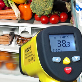 Non-contact infrared thermometers can provide instant temperature readings of chilled, frozen or hot foods to keep your food safe.