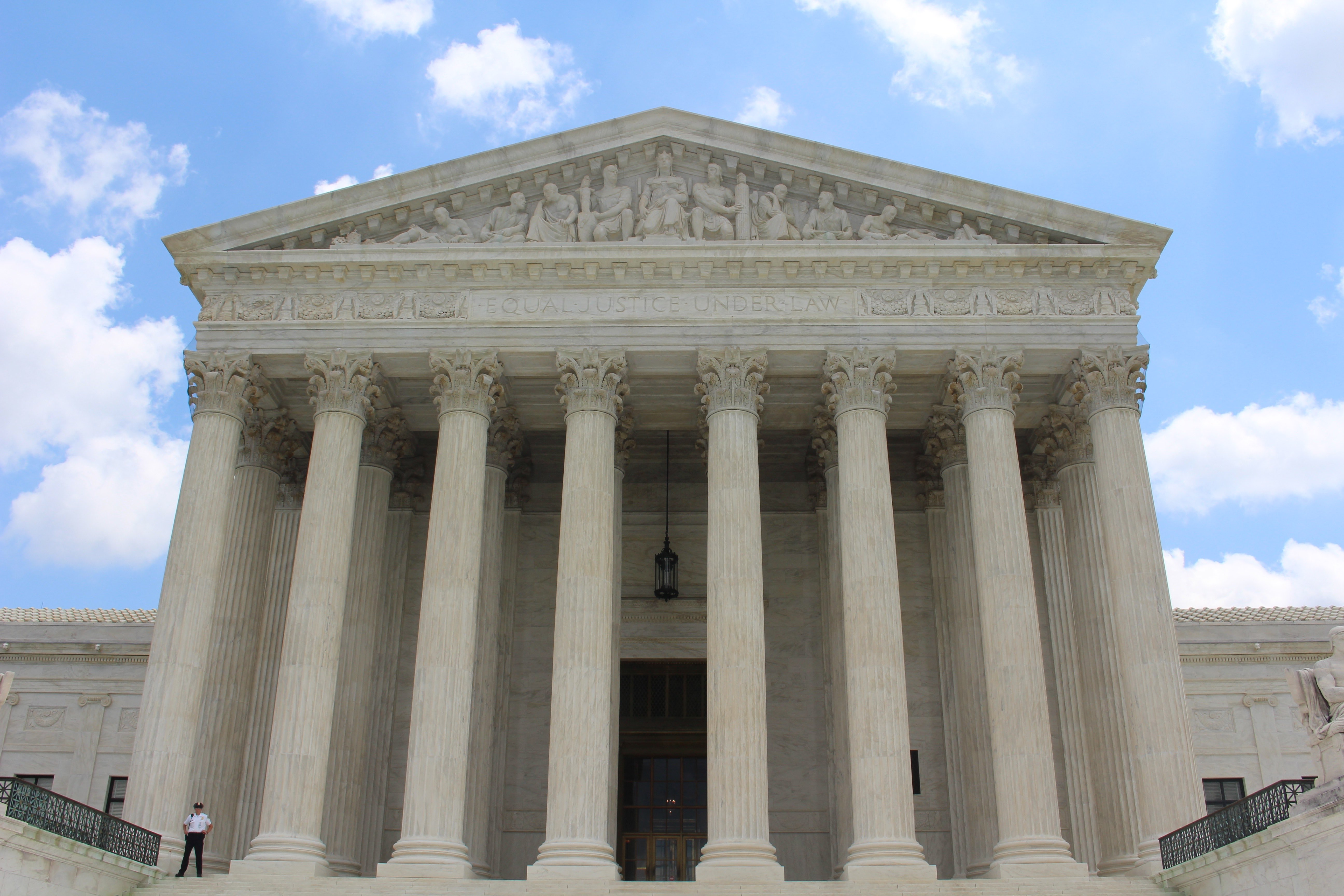 The front of the U S Supreme Court.