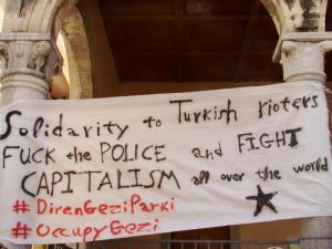 Solidarity banner at Liontaria square in Heraklion, Crete (Greece)