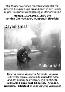 #Occupygezi #solidarity demo monday june 17 6pm City Arkaden Wuppertal, Germany -  Bigger picture? Click at picture