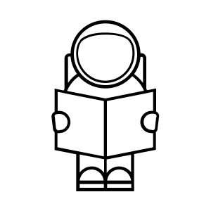 Spaceperson Reading a Book Icon