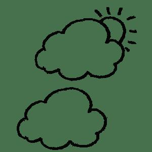 雲のフリー鉛筆イラスト素材