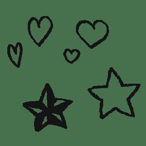ハートと星のアイコンイラストフリー素材