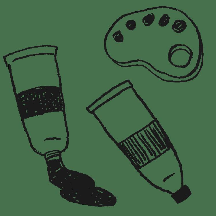 絵具とパレットのイラストフリー素材