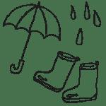 雨の日の傘、長靴のイラストフリー素材