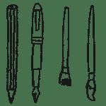 鉛筆、万年筆、筆のイラストフリー素材