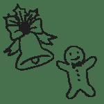 クリスマスベルとアイシングクッキーの手描きイラストフリー素材