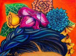 """Headress"" by Lizbeth Ortiz , 11"" x 14"" Oil on canvas, $350"