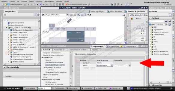 Definición de usuarios PLC Siemens S7-1200