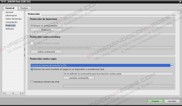 Control contra copia PLC Siemens S7-1200
