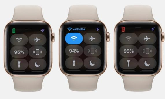 Tres relojes que muestran iconos verdes wifi y rojos de estado de la conexión telefónica