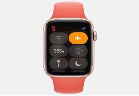 Un reloj Apple en modo avión
