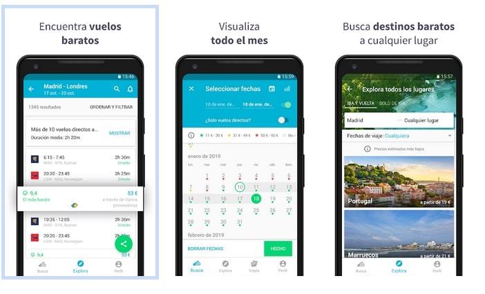 skyscanner aplicación para viajes