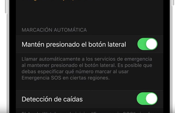 activar detección de caidas apple watch