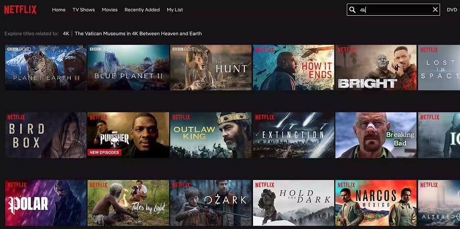 peliculas en 4k en Netflix