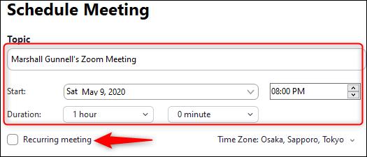 Reunión de hora y fecha