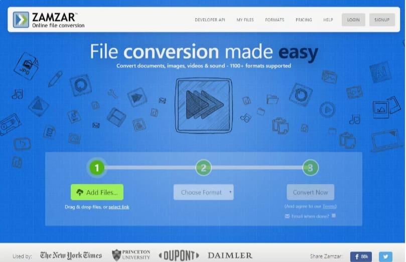 Zamzar, Servicio gratuito de conversión de archivos en línea