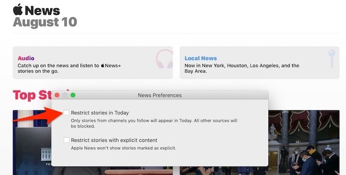 Customize Apple News Mac Restricted View
