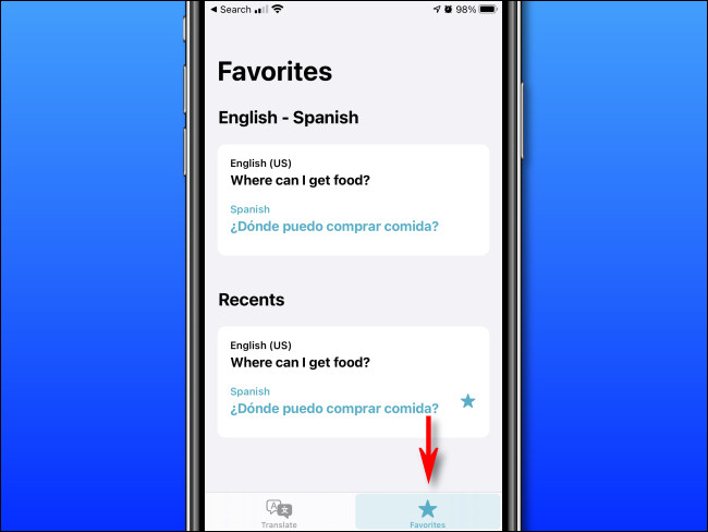 """In Apple Translate on iPhone, tap the """"Favorites"""" button."""