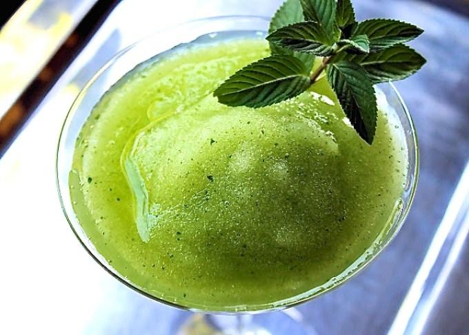 green mojito, emerald mojito, frozen mojito, The Esmeralda Frozen Mojito