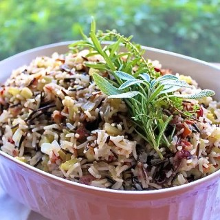 Wild and Basmati Rice Turkey Stuffing with Cranberries, Apples, Bacon and Herbs