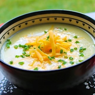 Creamy Potato Soup with Bacon & Cheddar Cheese