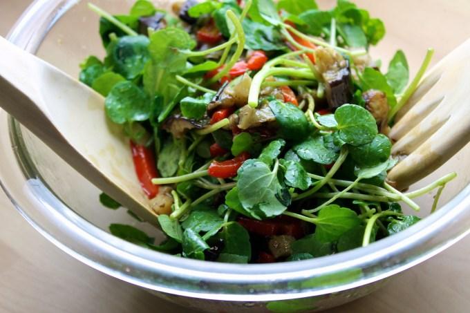 Watercress & grilled vegetables salad