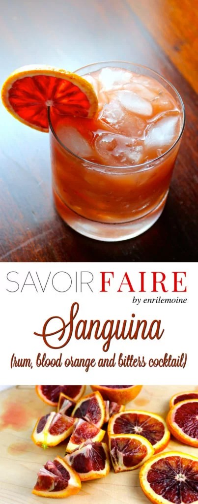 Sanguina, rum, blood orange and bitters cocktail - SAVOIR FAIRE by enrilemoine