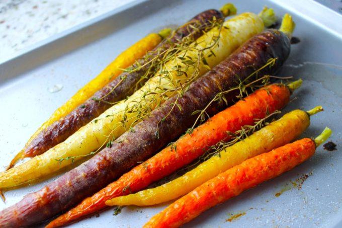 zanahorias multicolres, zanahorias asadas con tomillo