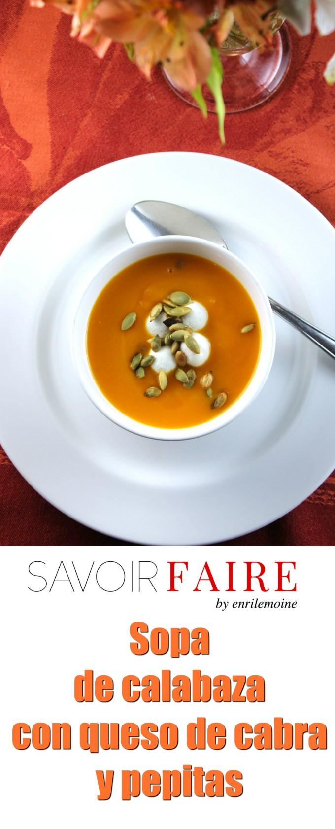 Sopa de calabaza con chevre y pepitas - SAVOIR FAIRE by enrilemoine
