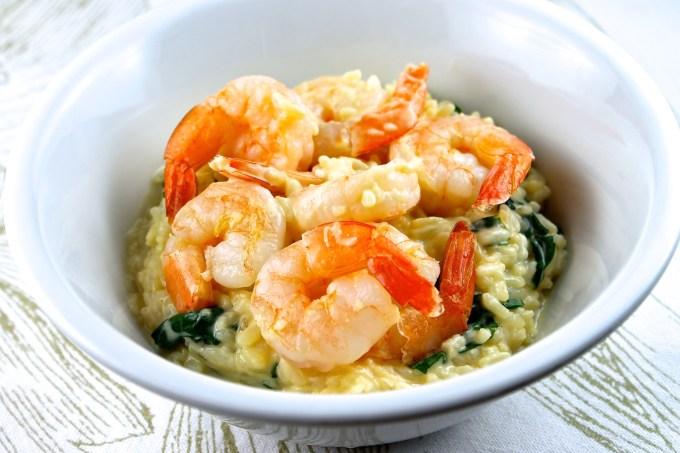 arroz con camarones, risotto con camarón y espinaca, camarones, langostinos