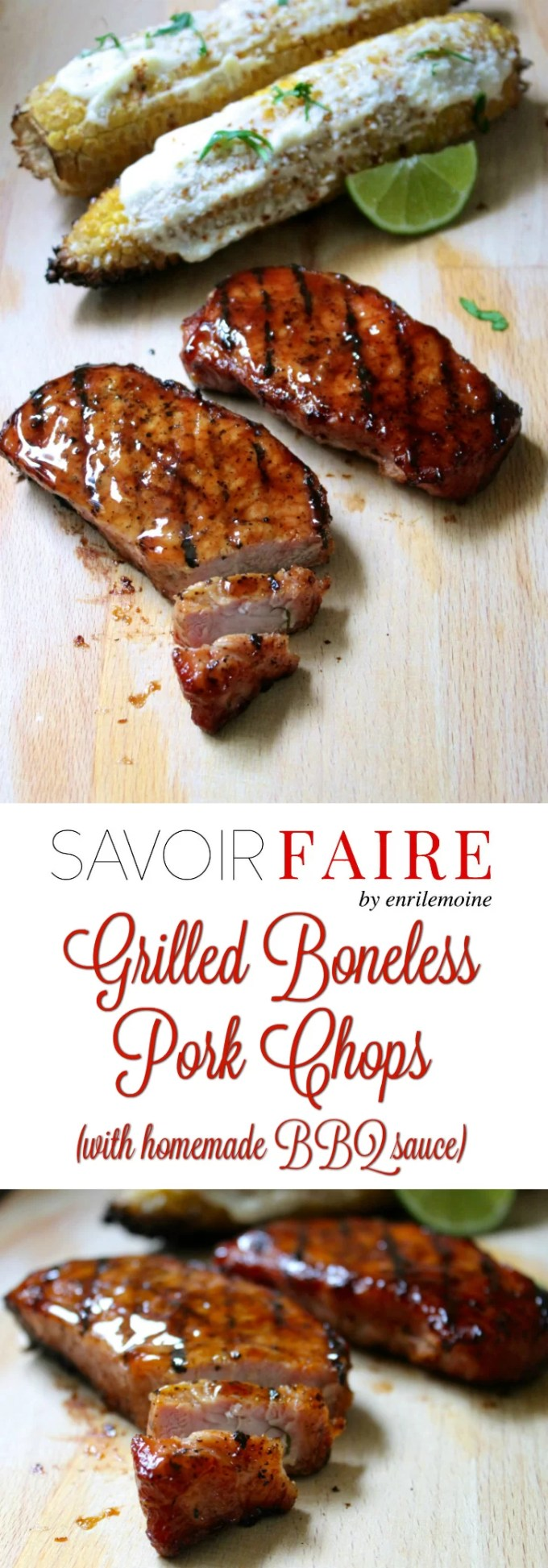 These boneless pork chops were grilled over indirect fire. By adding a few wood chips previously soaked in water to the hot coal, the meat acquires a distinctive delicious smoky flavor. Click for the step-by-step recipe. #Ad #SaborSmithfield