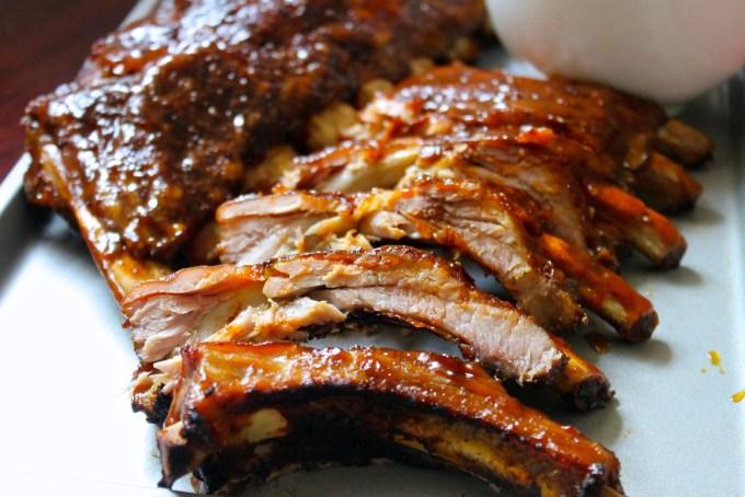 BBQ Pork Ribs with Tamarind-Chipotle Glaze, barbecued pork ribs, chopped pork ribs with BBQ sauce