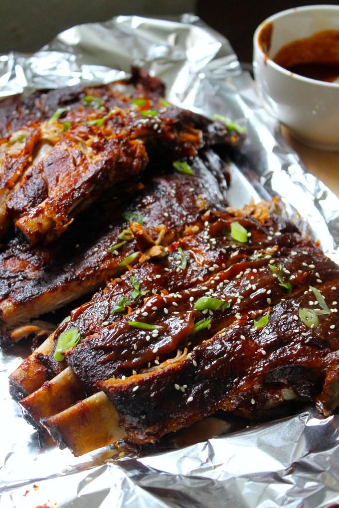 bbq pork spare ribs with teriyaki glaze