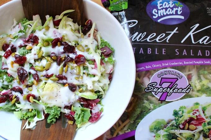 ensalada, sweet kale salad, ensalada de siete súper alimentos
