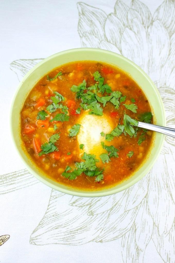 sopa de verduras con huevo y cilantro, bol de sopa