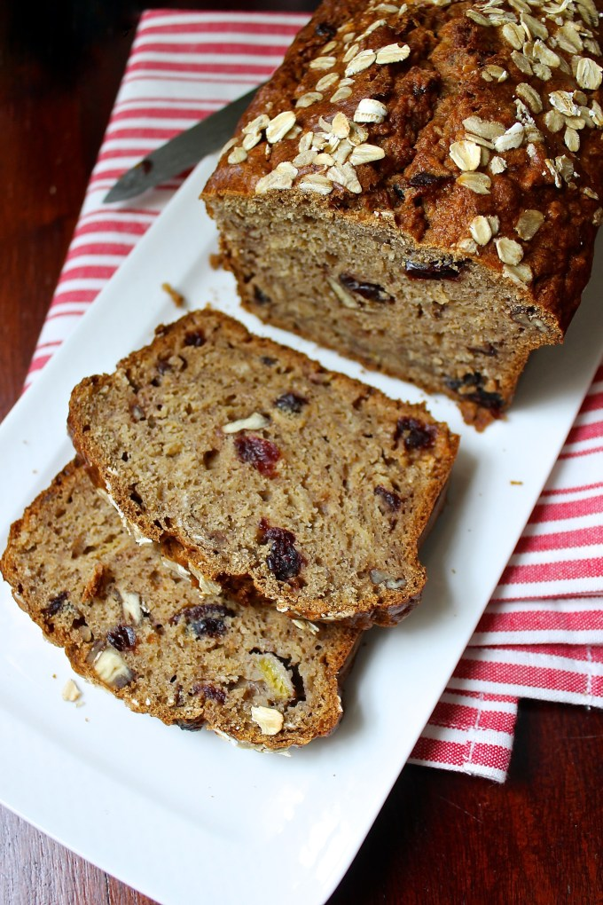 Oatmeal cranberry-banana bread
