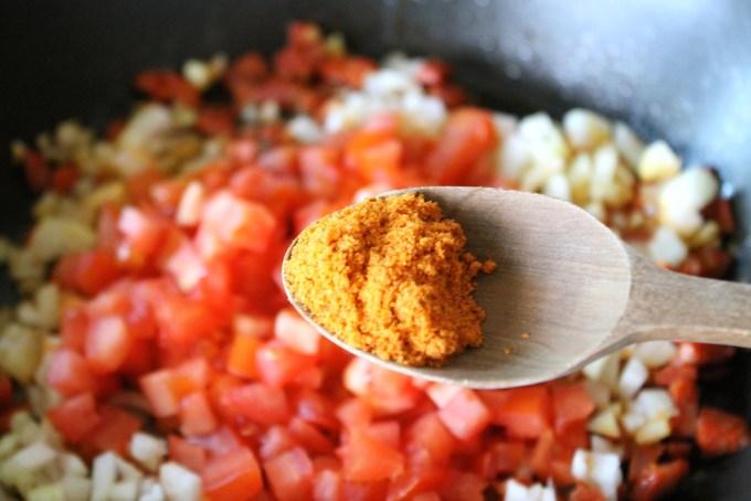 sofrito to make Arepas with Chorizo Scrambled Eggs