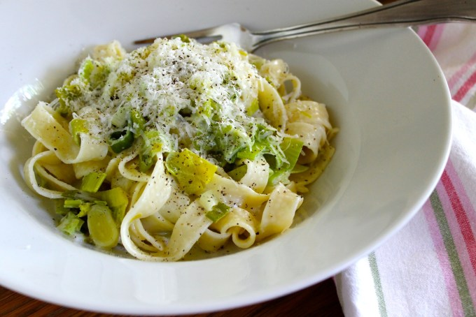 Creamy Fetucchine with Leeks and Scallions