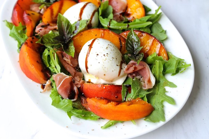 Peach Burrata Salad made with grilled peaches and prosciutto