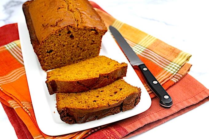 Sliced pumpkin spice bread.